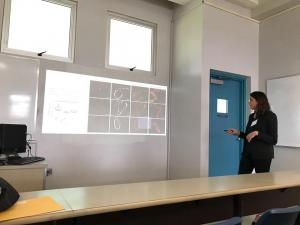 Valentina presenting her research at the Junior Technical Meeting. 1